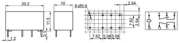 Printrelais HONGFA HFD27/005-S - Produktbild 2