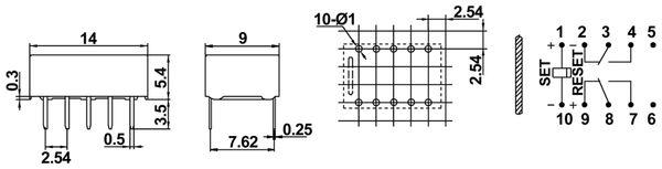 Printrelais HONGFA HFD31/012-L1, bistabil - Produktbild 2