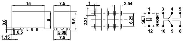 Printrelais HONGFA HFD3/012-L1S1, bistabil - Produktbild 2
