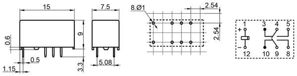 Printrelais HONGFA HFD3/012 - Produktbild 2