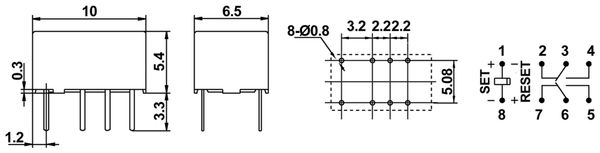 Printrelais HONGFA HFD4/012-L, bistabil - Produktbild 2