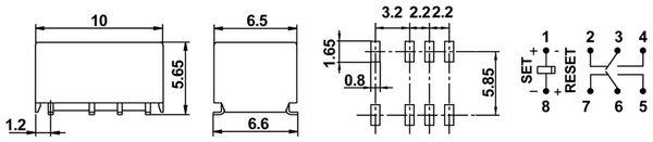 Printrelais HONGFA HFD4/012-LS1, bistabil - Produktbild 2