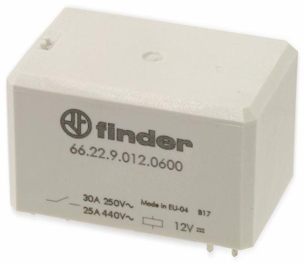 Leistungs-Relais FINDER 66.22.9.012.0600, 12 V-, 2 Schließer, 30 A/250 V~ - Produktbild 1