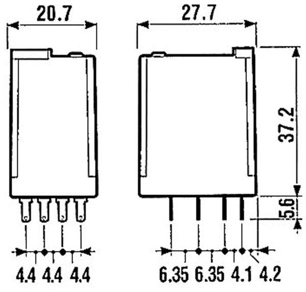 Relais Finder F 55.34, 24 V~, 4xUM, 7 A, 55.34.8.024.0040 - Produktbild 3