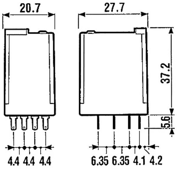 Relais Finder F 55.34, 24 V-, 4xUM, 7 A, LED-Anzeige, Freilaufdiode - Produktbild 3