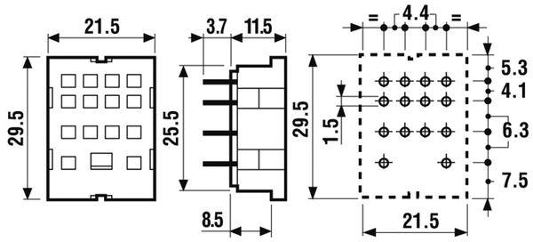 Relaisfassung FINDER für Relais der Serie F55.32, F55.34, Printanschluss - Produktbild 2
