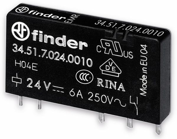 FINDER Relais 34.51, 12 V-, 1xUM, 6 A
