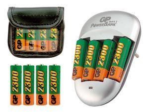 GP-Ladegerät mit 8 NiMH-Akkus und Akku-Tasche