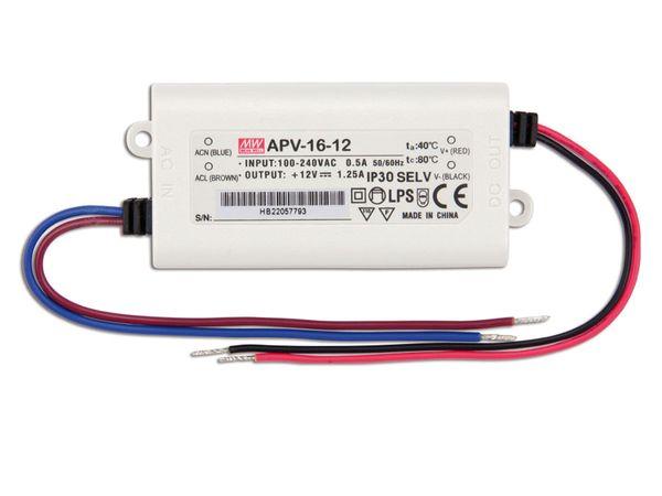 Schaltnetzteil MEANWELL APV-16-12, 12 V-/1,25 A - Produktbild 2