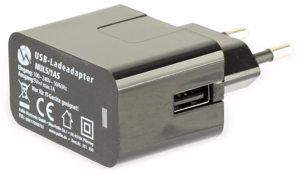 USB-Ladeadapter QUATPOWER NUL5/1AS, 1 A, schwarz