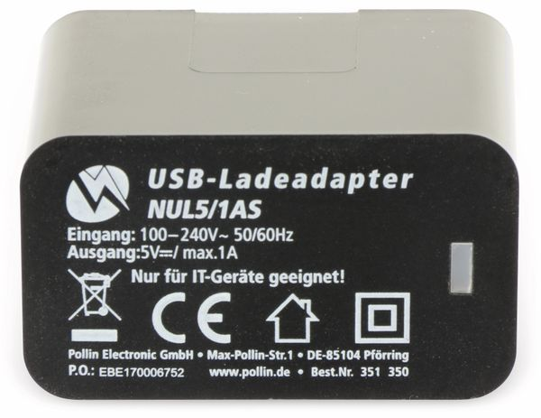 USB-Ladeadapter QUATPOWER NUL5/1AS, 1 A, schwarz - Produktbild 3