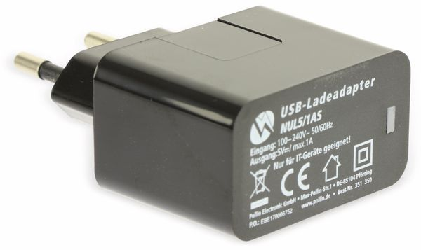 USB-Ladeadapter QUATPOWER NUL5/1AS, 1 A, schwarz - Produktbild 5