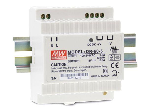 Hutschienen-Schaltnetzteil MEANWELL DR-60-5, 5 V-/6,5 A