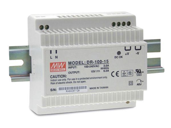 Hutschienen-Schaltnetzteil MEANWELL DR-100-15, 15 V-/6,5 A