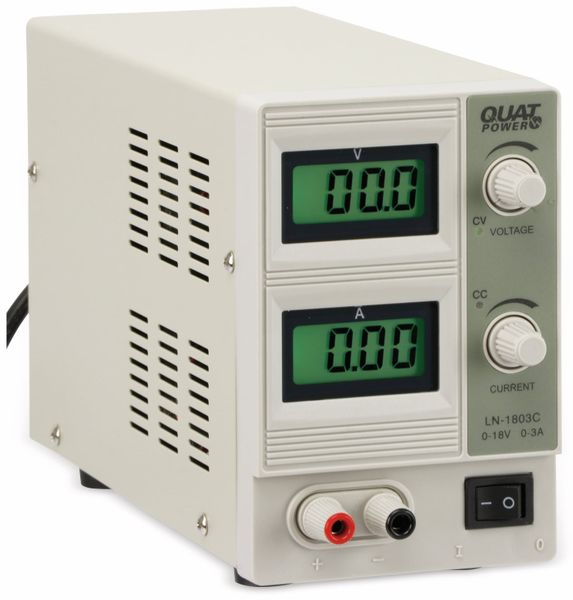Regelbares Labornetzgerät QUATPOWER LN-1803C, 0...18 V-/0...3 A, Sicherheitstransformator