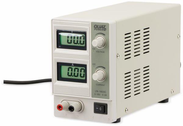 Regelbares Labornetzgerät QUATPOWER LN-1803C, 0...18 V-/0...3 A, Sicherheitstransformator - Produktbild 2