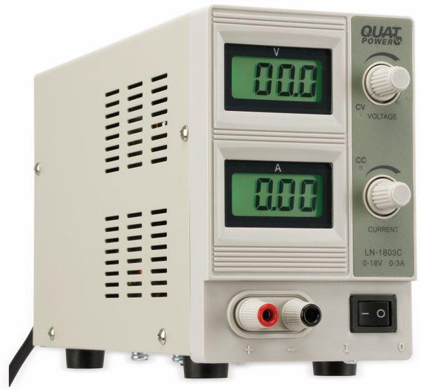 Regelbares Labornetzgerät QUATPOWER LN-1803C, 0...18 V-/0...3 A, Sicherheitstransformator - Produktbild 3