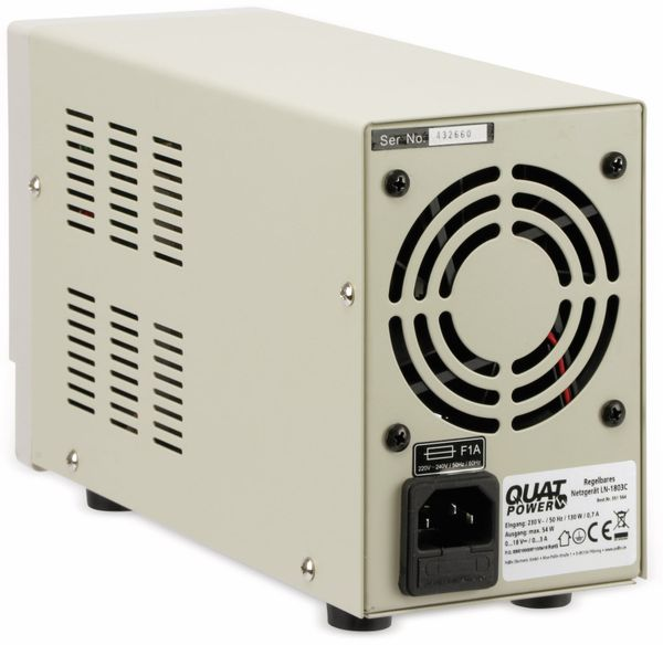 Regelbares Labornetzgerät QUATPOWER LN-1803C, 0...18 V-/0...3 A, Sicherheitstransformator - Produktbild 4