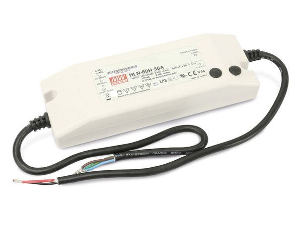 LED-Schaltnetzteil MEANWELL HLN-80H-36A, 33...40 V-/1,38...2,3 A - Produktbild 1