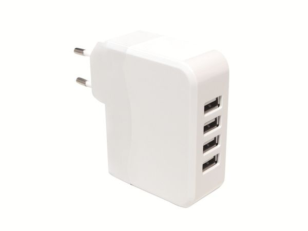 4-fach USB-Lader LOGILINK PA0096, weiß
