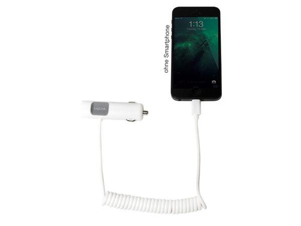KFZ USB-Lader mit Lightning-Kabel LOGILINK PA0103, 5 V-/3,4 A, weiß - Produktbild 2