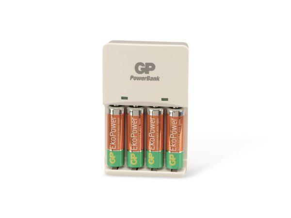 Ladegerät GP PowerBank GPKB01GS mit 4 NiMH Mignon-Akkus EkoPower - Produktbild 1