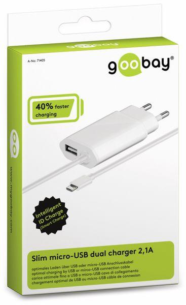 Slim Dual-Ladegerät GOOBAY 71405, 5 V-/2,1 A, weiß - Produktbild 2