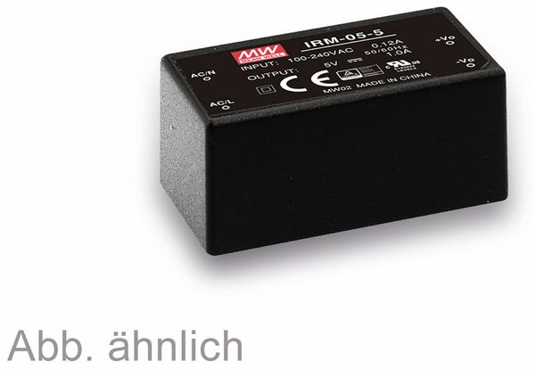 AC/DC-Printnetzteil MEANWELL IRM-05-15, 15 V-/0,33 A, 4,9 W