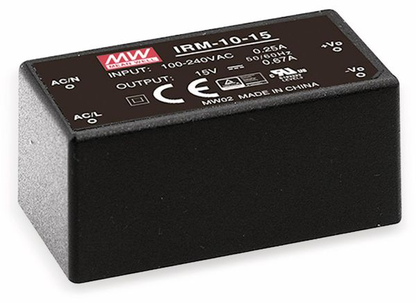 AC/DC-Printnetzteil MEANWELL IRM-10-3.3, 3,3 V-/2,5 A, 8,2 W