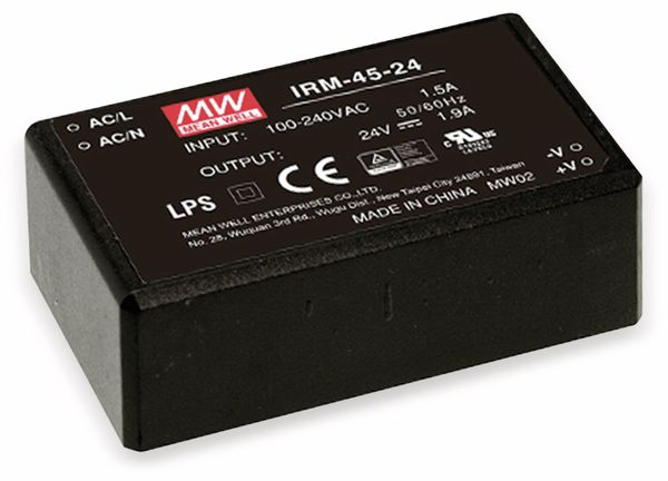 AC/DC-Printnetzteil MEANWELL IRM-45-5, 5 V-/8 A, 40 W