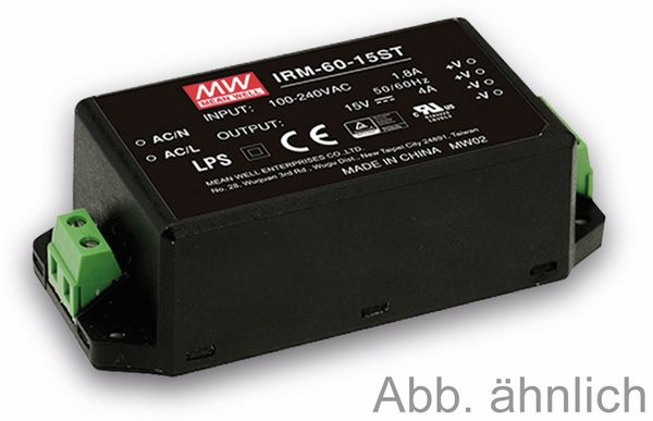 AC/DC-Printnetzteil MEANWELL IRM-60-15ST, 15 V-/4 A, 60 W