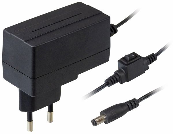 Stecker-Schaltnetzteil MV-12 mit Schalter, 12 V-/1 A, 5,5/2,1 mm - Produktbild 1