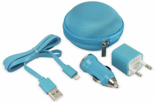 USB-Ladeset SOUNDLOGIC, Netz-/KFZ, blau - Produktbild 1