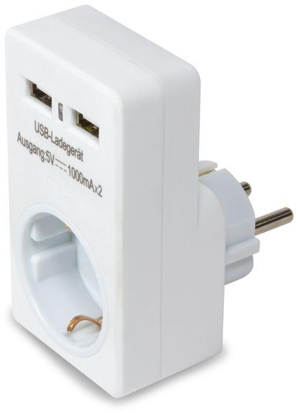 USB-Lader, Logilink, PA0112, 2-fach,weiß, mit Steckdosenadapter - Produktbild 1