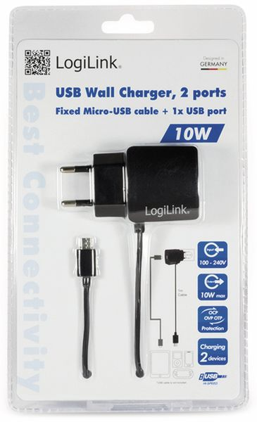 USB-Lader, Logilink, PA0146, 2-fach,10,5W, USB, Micro-USB, schwarz - Produktbild 3