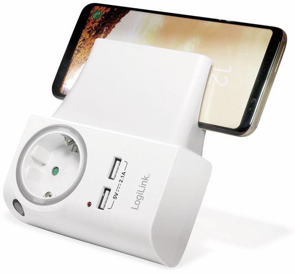 USB-Lader, Logilink PA0165, Schutzkontaktbuche 2-fach, 2,1A, mit Nachtlicht - Produktbild 3