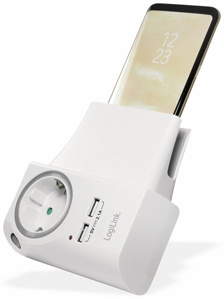 USB-Lader, Logilink PA0165, Schutzkontaktbuche 2-fach, 2,1A, mit Nachtlicht - Produktbild 4