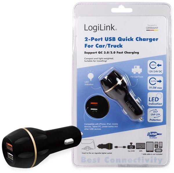 USB-Lader LOGILINK PA0164, KFZ, 2-fach, QC3.0/2.0 - Produktbild 4