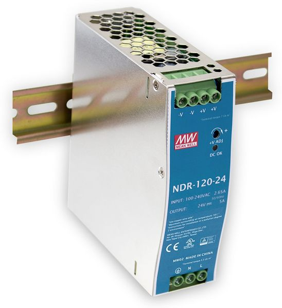 Schaltnetzteil MEANWELL NDR-120-12, 12 V-/10 A