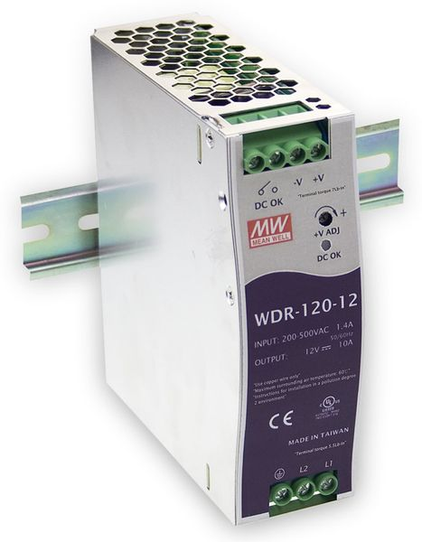 Schaltnetzteil MEANWELL WDR-120-24, 24 V-/5 A