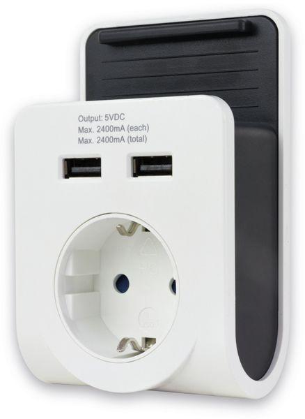 USB-Ladegerät REV 2-fach. weiss, mit Ladeschale