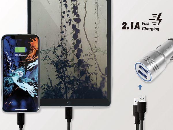 USB-Lader KFZ LOGILINK PA0228, 2-fach, 2,1 A, silber, integrierter Nothammer - Produktbild 7