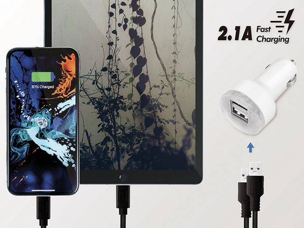 USB-Lader KFZ LOGILINK PA0227, 2-fach, 2,1 A, 10,5 W, weiss - Produktbild 5