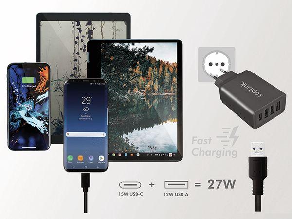 USB-Lader LOGILINK PA0221, 4-fach, 27 W, 3xUSB-A, 1xUSB-C, schwarz - Produktbild 4