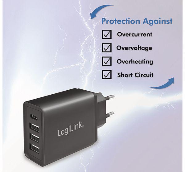 USB-Lader LOGILINK PA0221, 4-fach, 27 W, 3xUSB-A, 1xUSB-C, schwarz - Produktbild 5