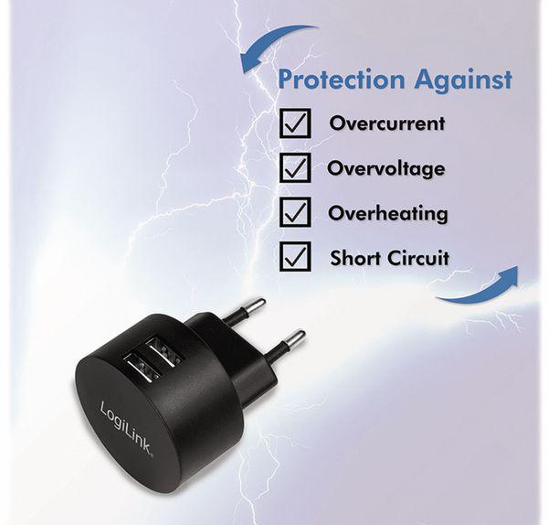 USB-Lader LOGILINK PA0218, 2-fach, 2,1 A, schwarz - Produktbild 5