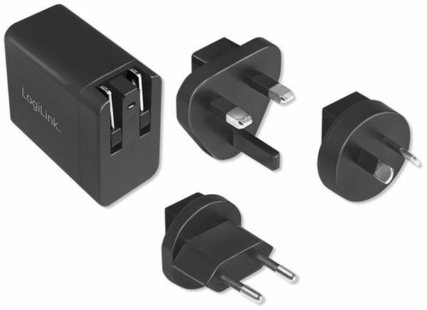 USB-Lader LOGILINK PA0187, 2,1 A, Reiseadapter, schwarz