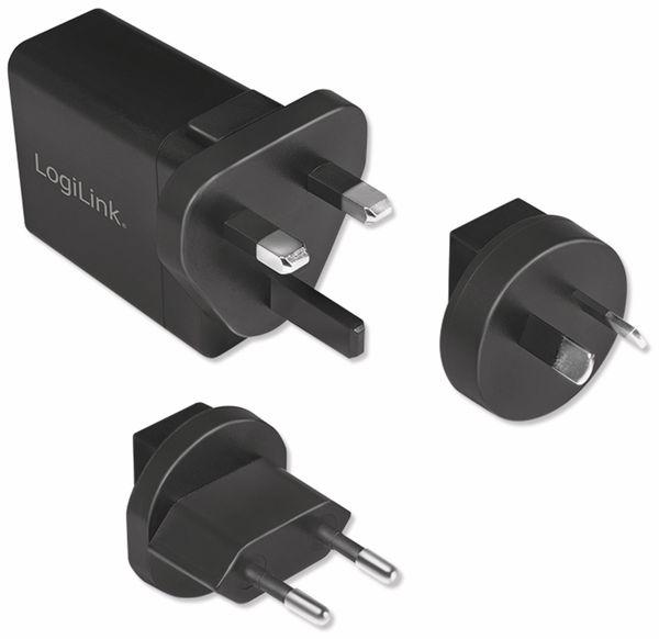 USB-Lader LOGILINK PA0187, 2,1 A, Reiseadapter, schwarz - Produktbild 4