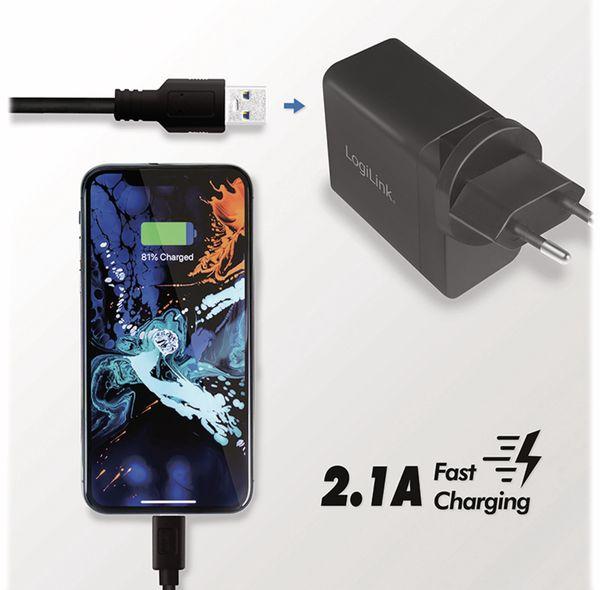 USB-Lader LOGILINK PA0187, 2,1 A, Reiseadapter, schwarz - Produktbild 6