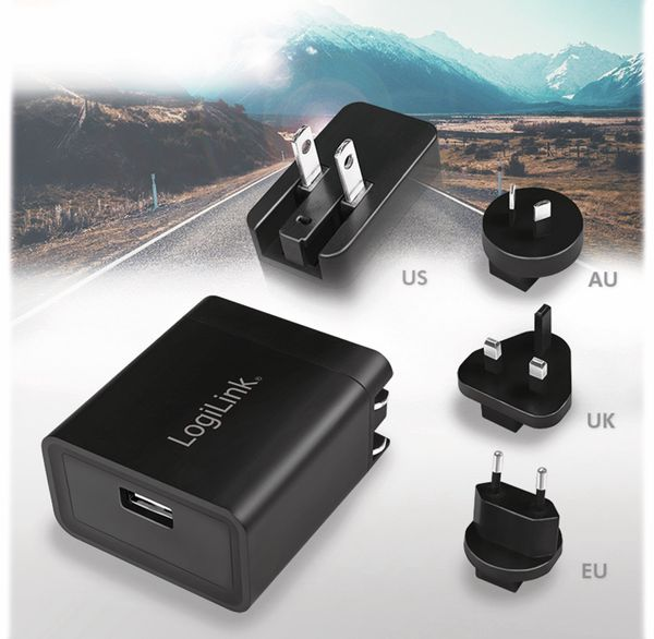 USB-Lader LOGILINK PA0187, 2,1 A, Reiseadapter, schwarz - Produktbild 7